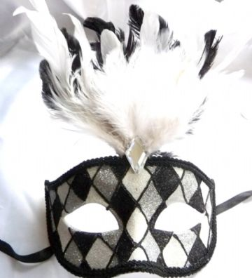 Black & White Harlequin Feathered Half Mask